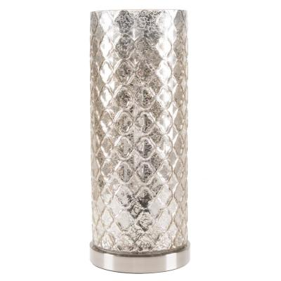 16 in. Silver Glass Uplight Lamp with Embossed Trellis Pattern Shade