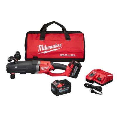 M18 FUEL 18-Volt Lithium-Ion Brushless Cordless Super Hawg 1/2 in. Right Angle Drill Kit W/ QUIK-LOK,(2) 9.0Ah Batteries
