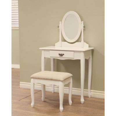 Queen Annie 3-Piece White Vanity Set