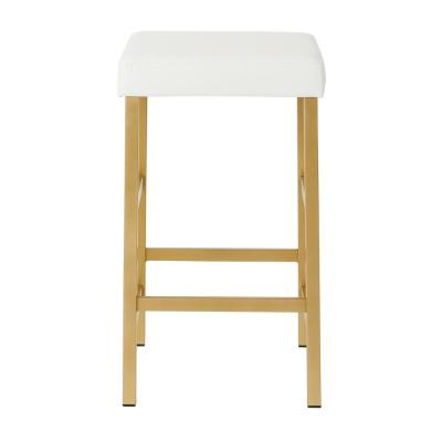 Metro 26 in. Gold Backless Stool in White