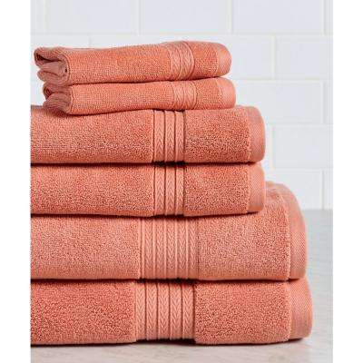 Summit 6-Piece 100% Cotton Bath Towel Set in Coral