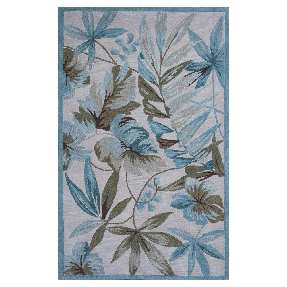 Kas Rugs Lagoon Ivory/Teal 8 ft. x 10 ft. 6 in. Area Rug