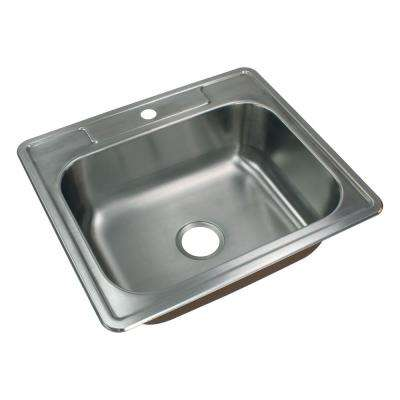 Classic Drop-In Stainless Steel 25 in. 1-Hole Single Bowl Kitchen Sink in Brushed Stainless Steel
