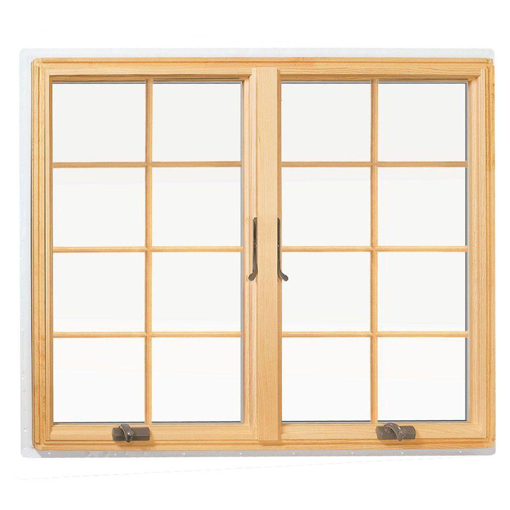 Andersen 48 in. x 48 in. 400 Series Casement Wood Window with White Exterior and Colonial grilles