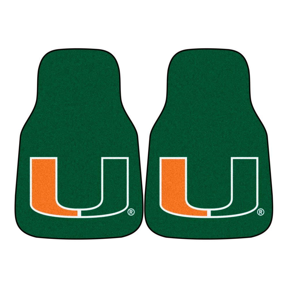 FANMATS University of Miami 18 in. x 27 in. 2-Piece Carpeted Car Mat Set