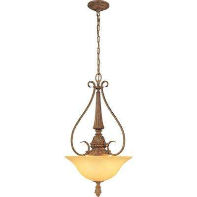 Capri 3-Light Chestnut Spice Bowl-Shaped Pendant