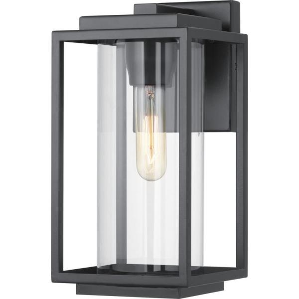 Macstreet 1-Light 12 in. Matte Black Outdoor Wall Lantern with Clear Glass