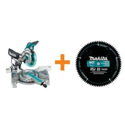 15 Amp 10 in. Dual Slide Compound Miter Saw with Laser with Bonus 10 in. x 5/8 in. Ultra-Coated 80-Teeth Miter Saw Blade