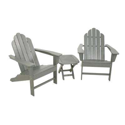 Long Island Grey 3-Piece Adirondack Patio Seating Set