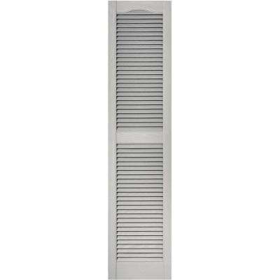 15 in. x 64 in. Louvered Vinyl Exterior Shutters Pair in #030 Paintable