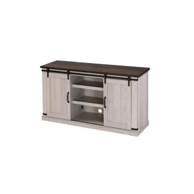 54 in. Walnut and Brown Wood TV Stand Fits TVs Up to 60 in. with Sliding Barn Door and Storage Shelf
