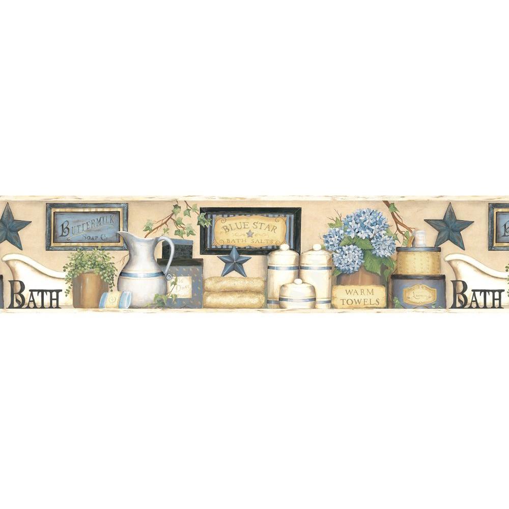 Martha Country Bath Wallpaper Border