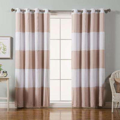 84 in. L Pink Rugby Stripe Cotton Blend Blackout Curtains in White (2-Pack)