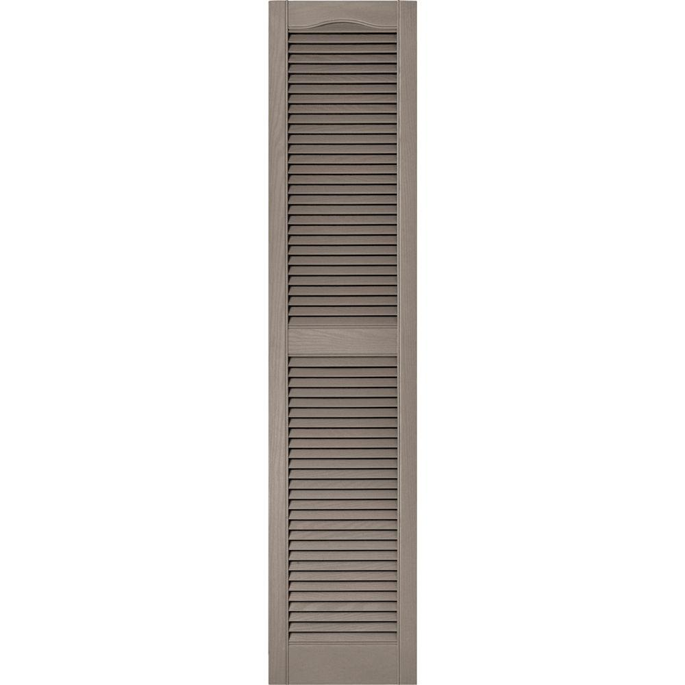 Builders Edge 15 in. x 67 in. Louvered Vinyl Exterior Shutters Pair in #008 Clay