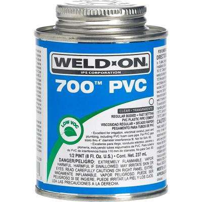 Weld-On 700 PVC Solvent Cement, Clear, Low VOC, High Strength, Regular Bodied, Fast Setting, 1/2 Pint (8 Fl. Oz.)