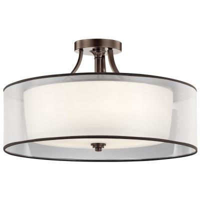 Lacey 5-Light Mission Bronze Semi-Flush Mount Ceiling Light with Translucent Organza Outer Shade