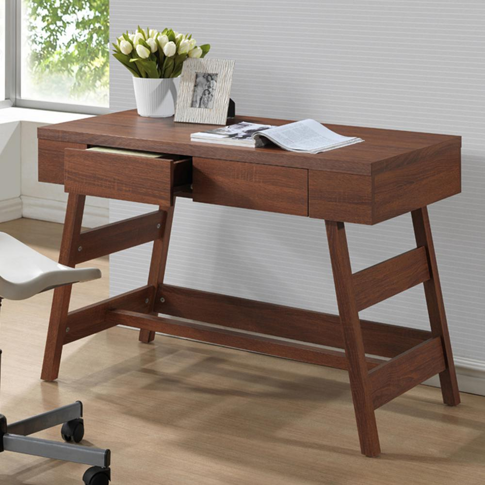 Trapezoid Contemporary Medium Brown Finished Wood Desk, W...