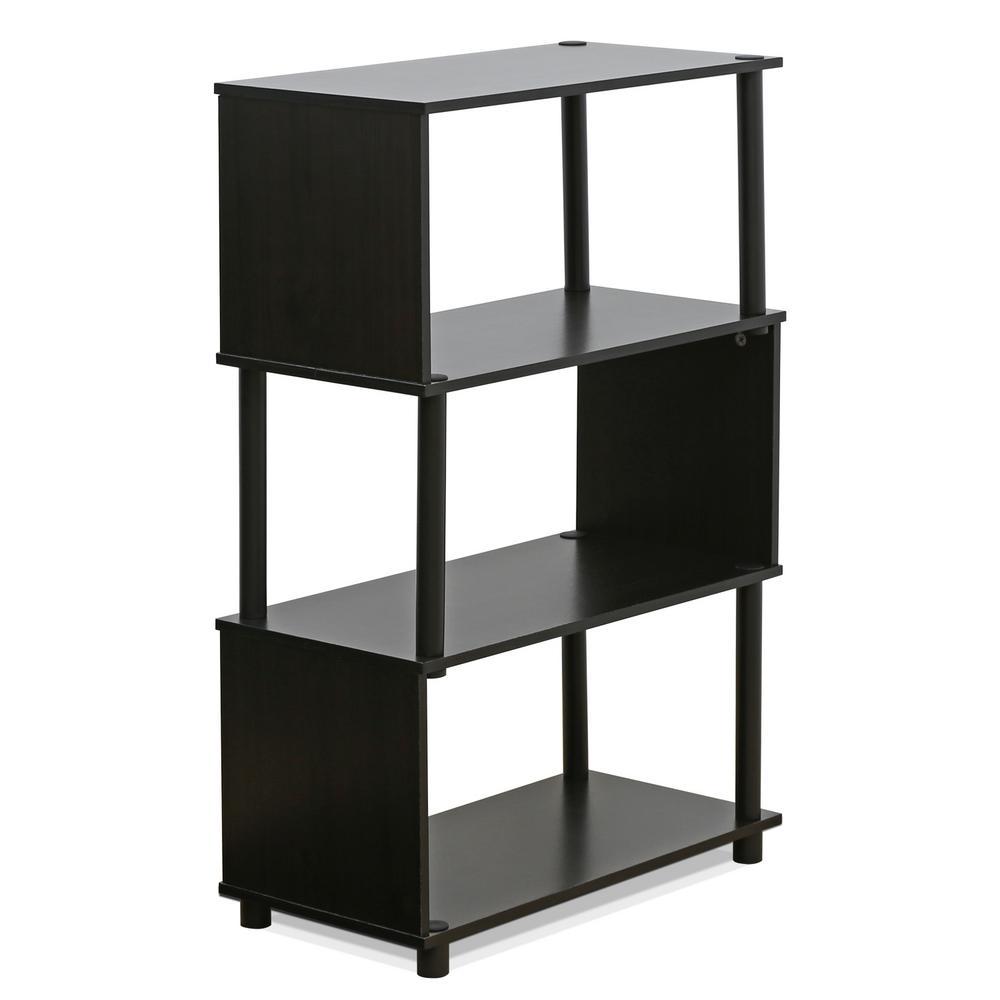 Flexi Espresso Modern Design 3-Shelf Open Bookcase