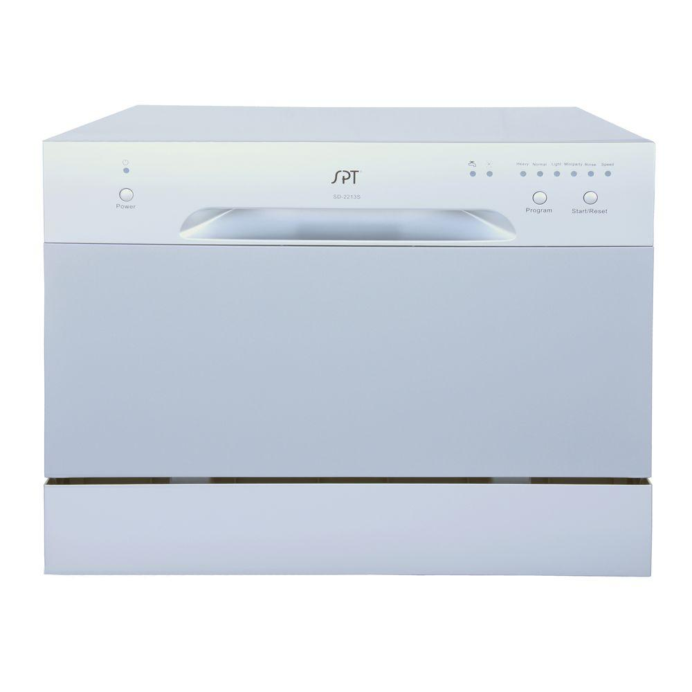 Danby 18 in. Portable Dishwasher in White with 8 Place Setting ...