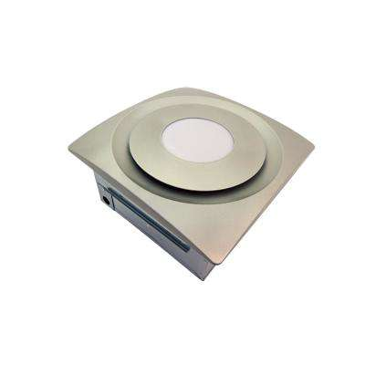 Slim Fit 120 CFM Quiet Bathroom Exhaust Fan with 10-Watt 4000K LED Light Ceiling or Wall Mount Satin Nickel