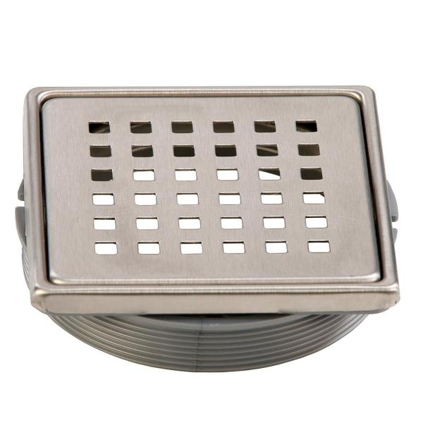 Tilux 4 in. x 4 in. Stainless Steel Adjustable Drain Cover in Brushed Nickel