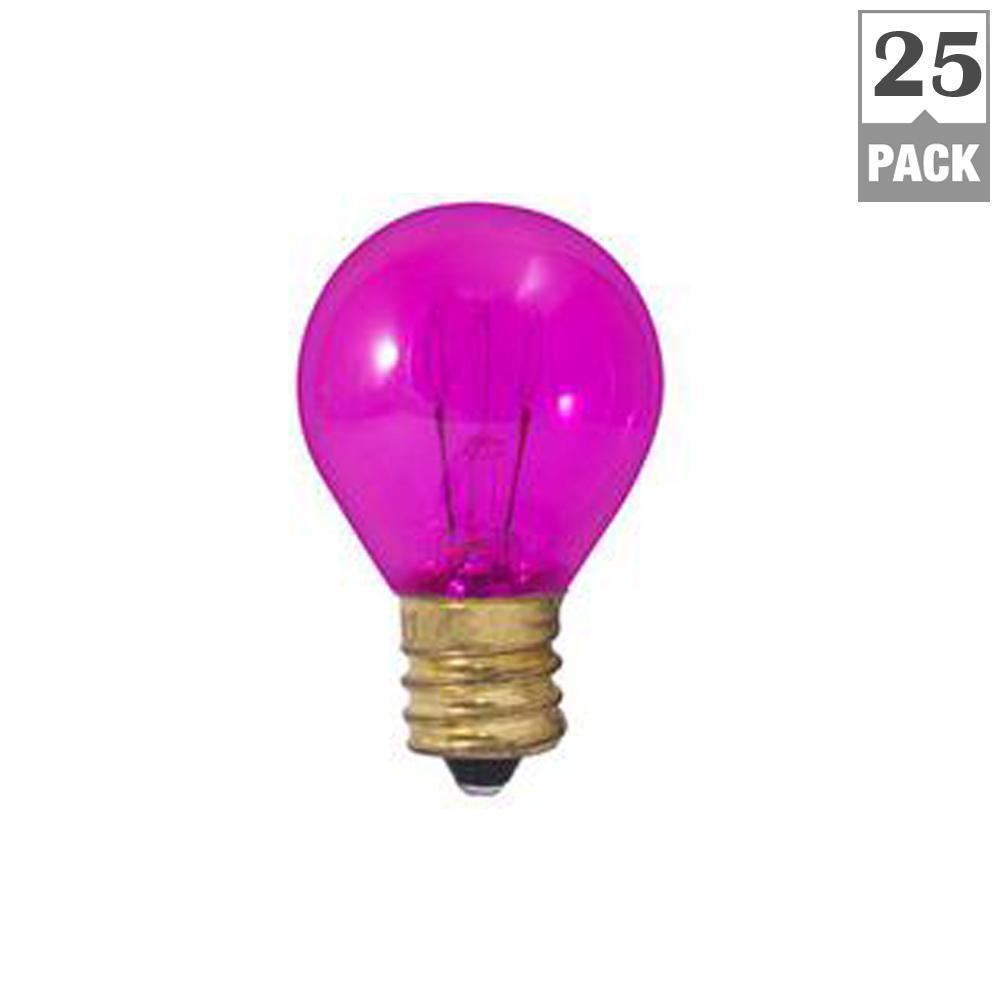 10-Watt S11 Transparent Pink Dimmable Incandescent Light Bulb (25-Pack)