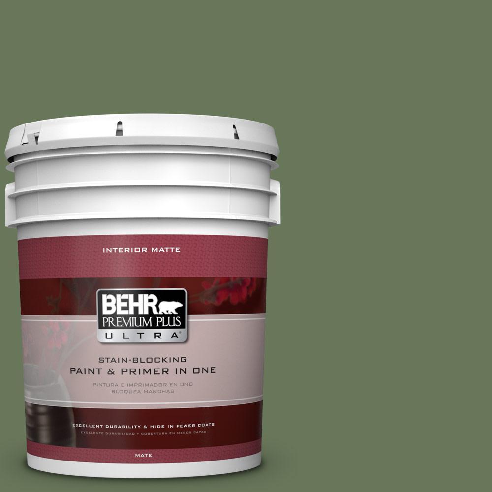 BEHR Premium Plus Ultra 5 gal. #PPU10-1 Scallion Flat/Matte Interior Paint