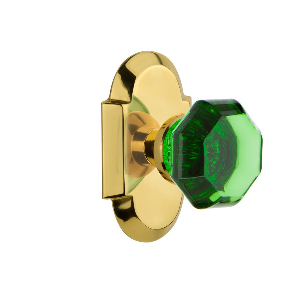 Cottage Plate 2-3/4 in. Backset Polished Brass Privacy Bed/Bath Waldorf Emerald