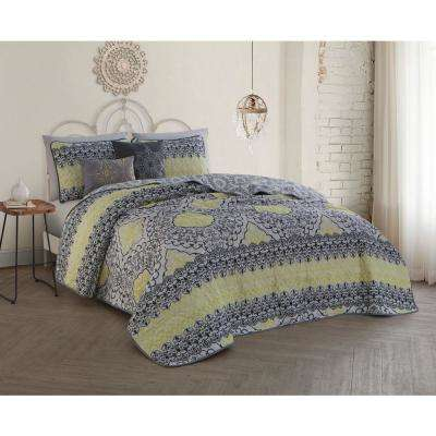 Celia 5-Piece Grey/Lime Queen Quilt Set