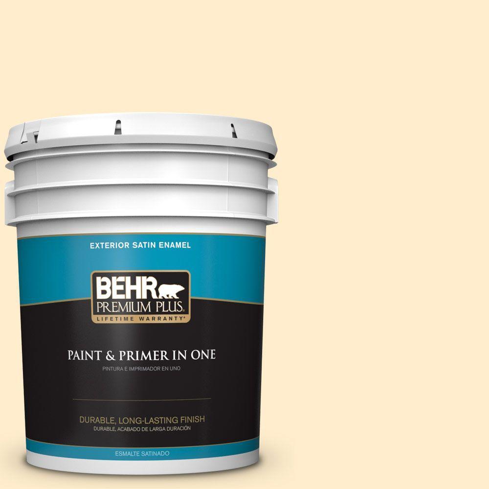 BEHR Premium Plus 5-gal. #320A-2 Provence Creme Satin Enamel Exterior Paint
