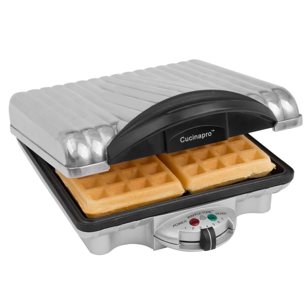 CucinaPro Four Square Belgian Waffle Maker in Stainless, Silver CucinaPro Four Square Belgian Waffle Maker pairs a classic design with practical construction for large families. Bakes four 4.5 in. Belgian waffles. Adjust the temperature to control the degree of browning and crispiness. The ready light will let you know when your Belgian waffles are ready to eat. Offers a on-stick coating to make clean up a breeze and stores upright for easy, compact storage. Color: Stainless Steel.