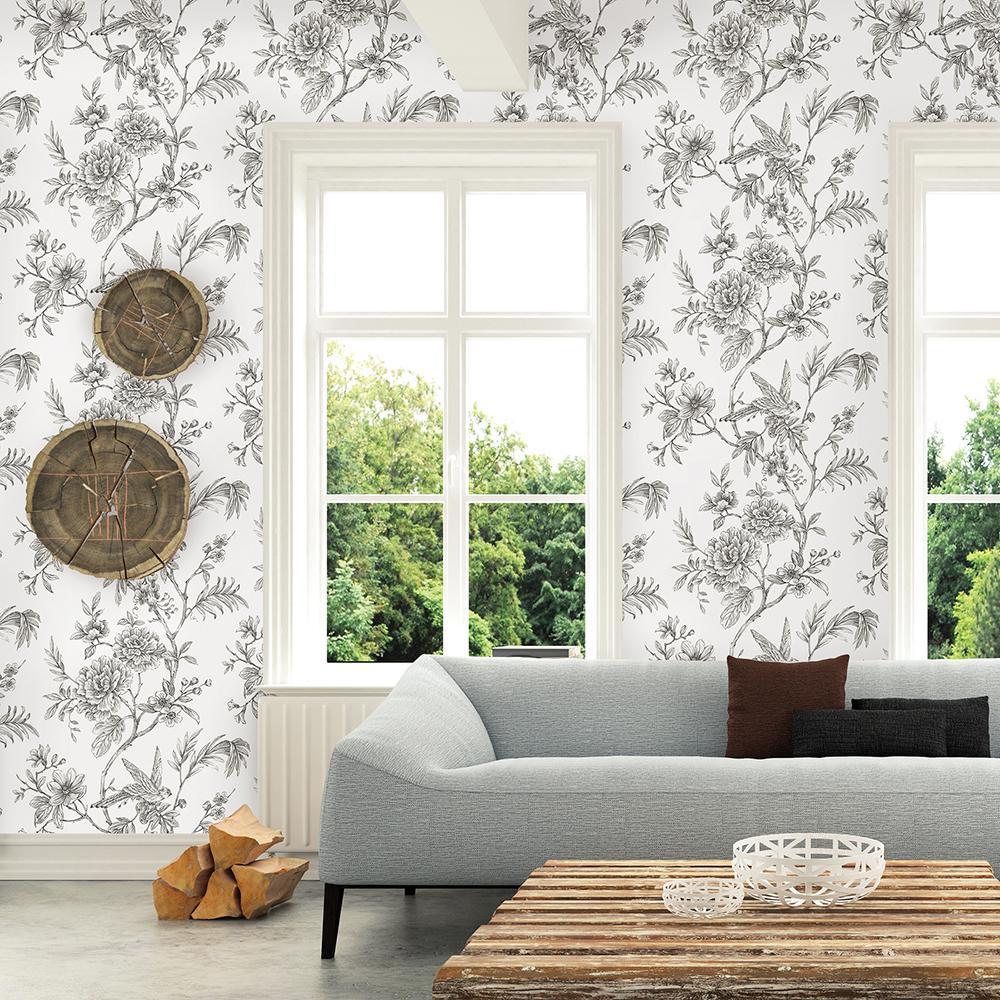 56.4 sq. ft. Jessamine Grey Floral Trail Wallpaper