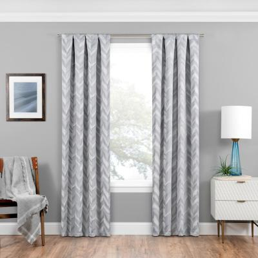 Haley Blackout Window Curtain Panel in Silver - 37 in. W x 95 in. L