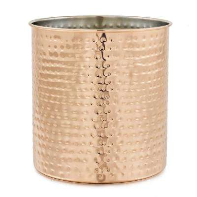 7-1/2 in. H x 7 in. Dia Jumbo Hammered Copper Utensil Holder