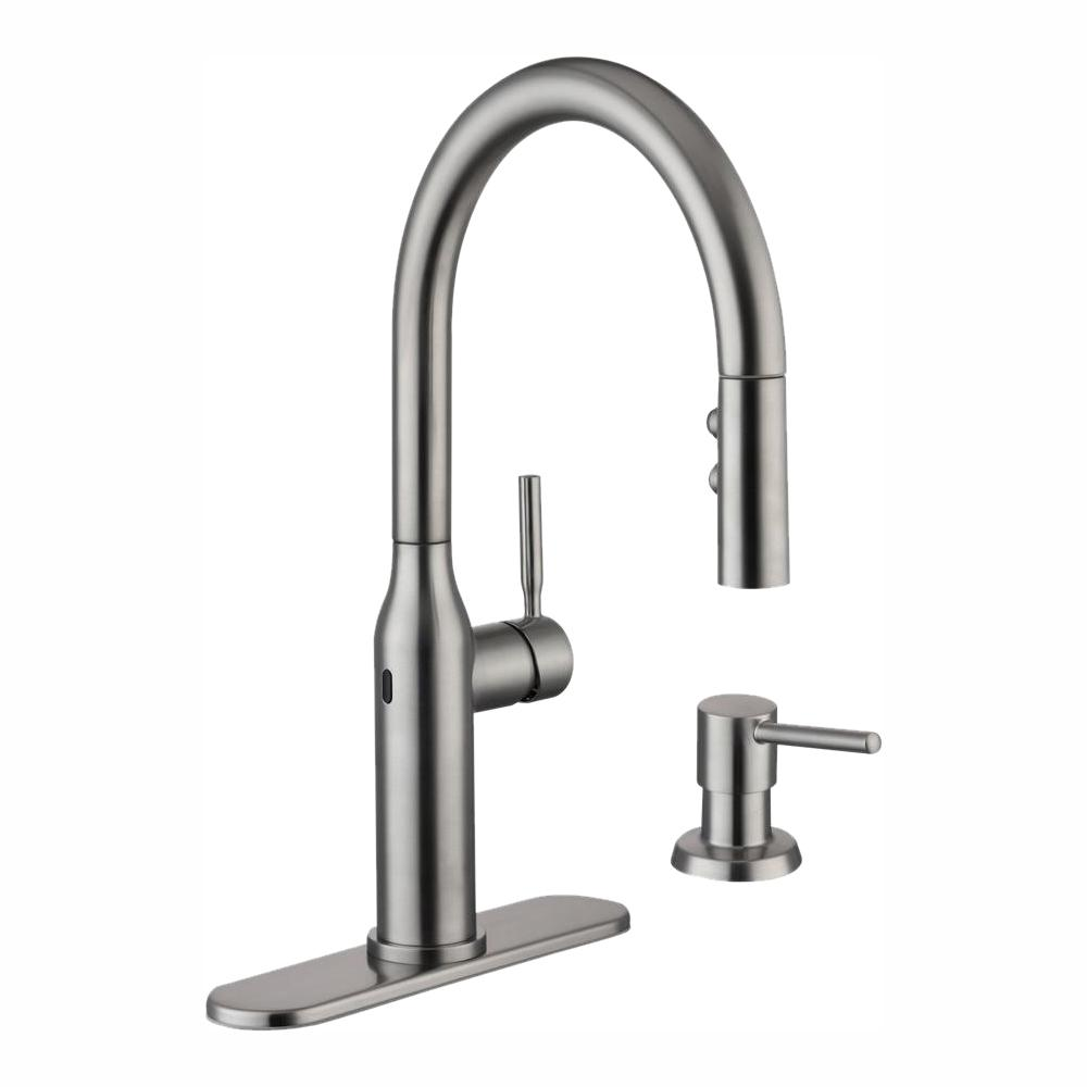 GLACIER BAY Upson Single-Handle Touchless Pull-Down Kitchen Faucet with TurboSpray and FastMount and Soap Dispenser in Stainless