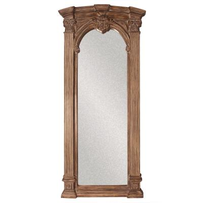 Medium Tuscan Brown With Whitewash Accents Wood Antiqued Bohemian Rustic Mirror (39 in. H X 86 in. W)