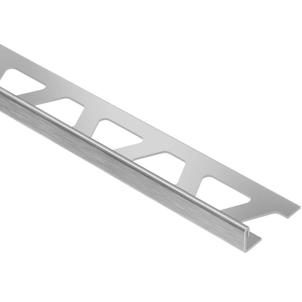 Schluter Schiene Brushed Stainless Steel 1/2 in. x 8 ft. 2-1/2 in. Metal L-Angle Tile Edging Trim