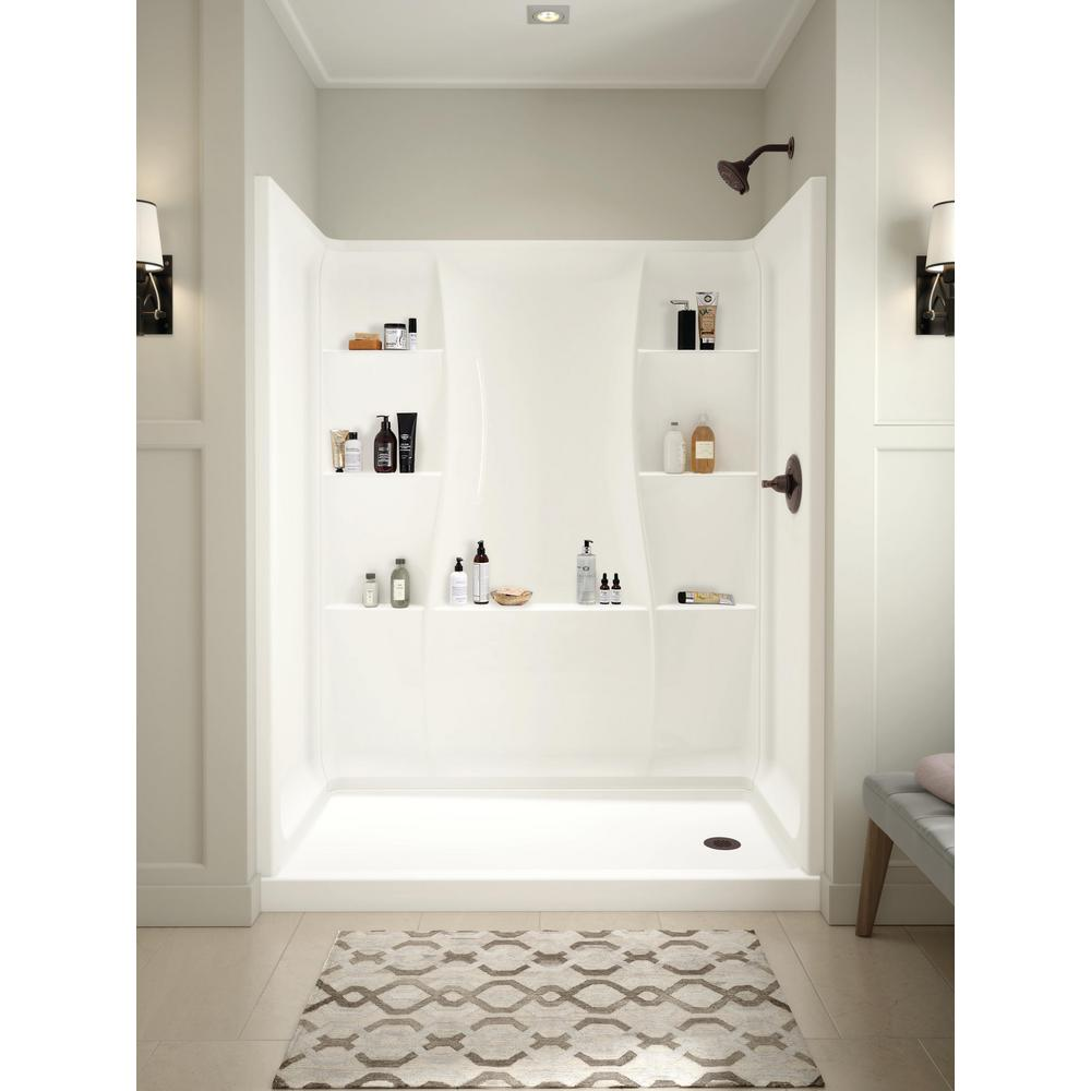 Classic 400 32 in. x 60 in. x 74 in. 3-Piece Direct-to-Stud Alcove Surround in White
