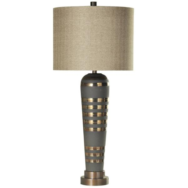 Pelham 38 in. Brushed Brass Table Lamp with Taupe Hardback Fabric Shade