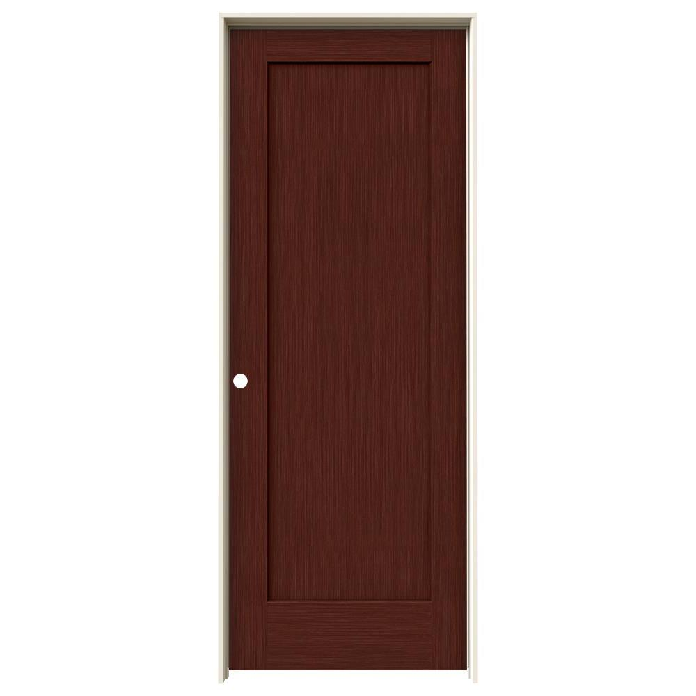 Jeld wen 32 in x 80 in madison black cherry stain right for Mdf solid core interior doors