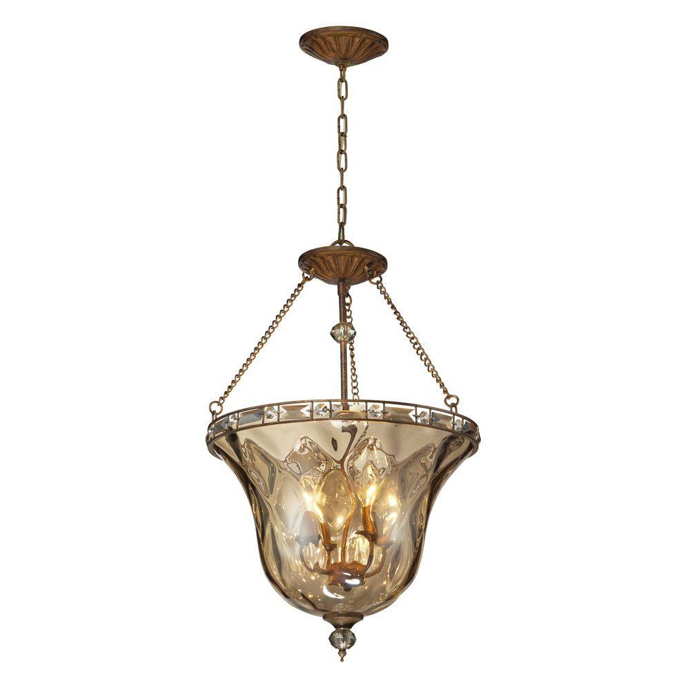 Cheltham 4-Light Mocha Ceiling Mount Pendant