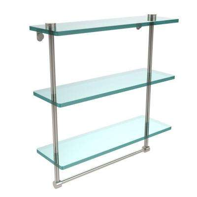 16 in. L  x 18 in. H  x 5 in. W 3-Tier Clear Glass Bathroom Shelf with Towel Bar in Polished Nickel