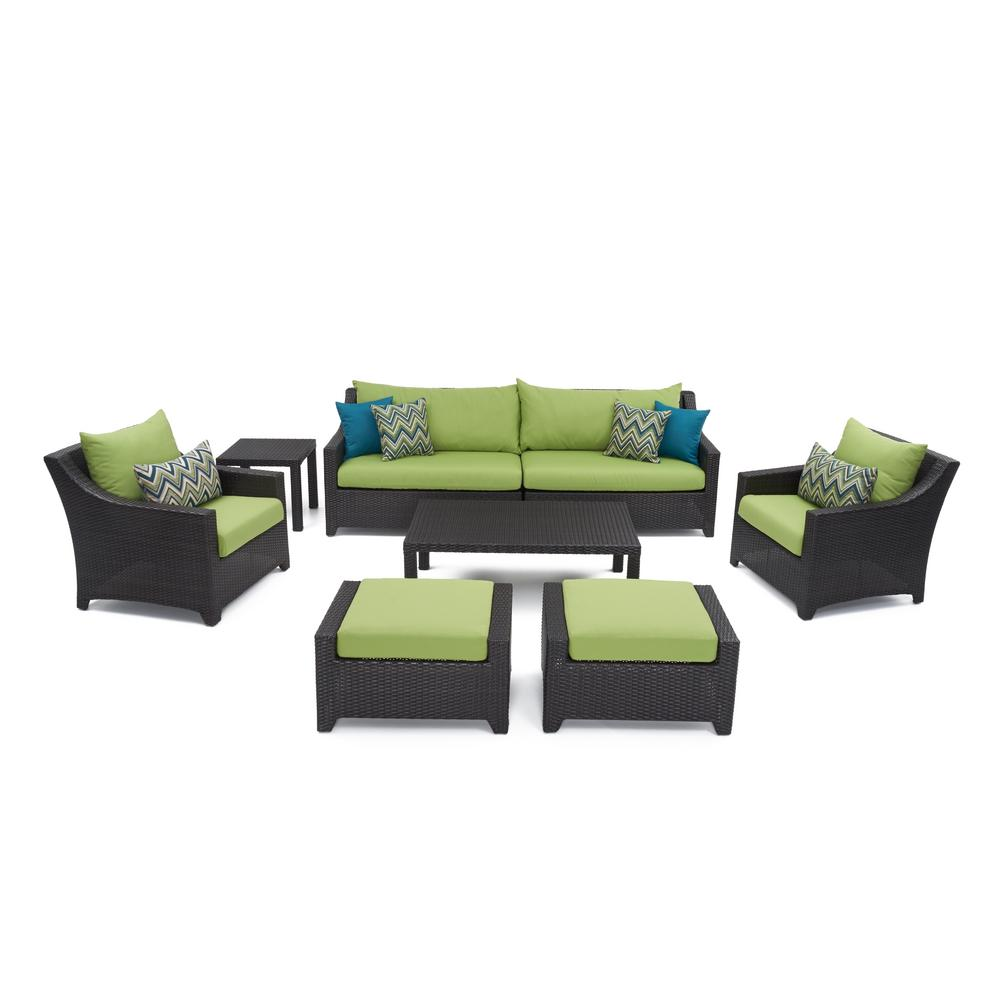 Rst Brands Deco 8 Piece Patio Sofa And Club Chair Deep Seating Set With Ginkgo Green Cushions Op