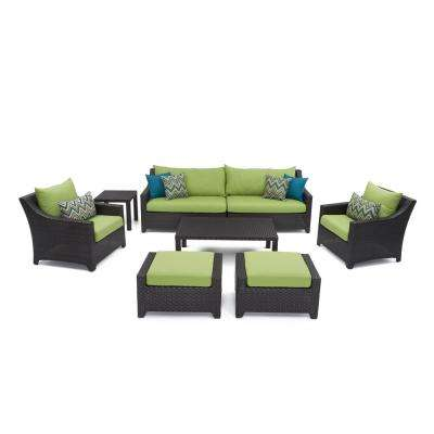 Deco 8-Piece Patio Sofa and Club Chair Deep Seating Set with Ginkgo Green Cushions