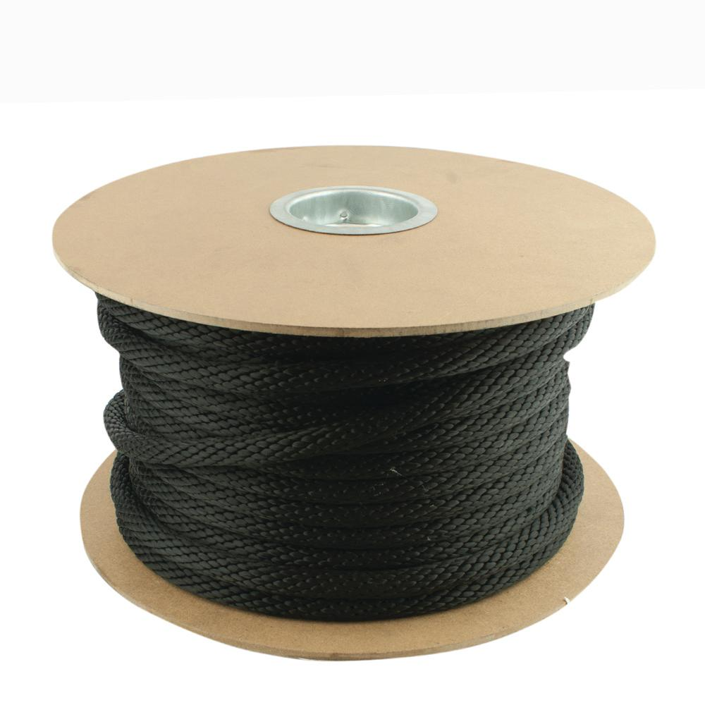3/8 in. x 600 ft. Black Solid Braid Polypropylene Rope