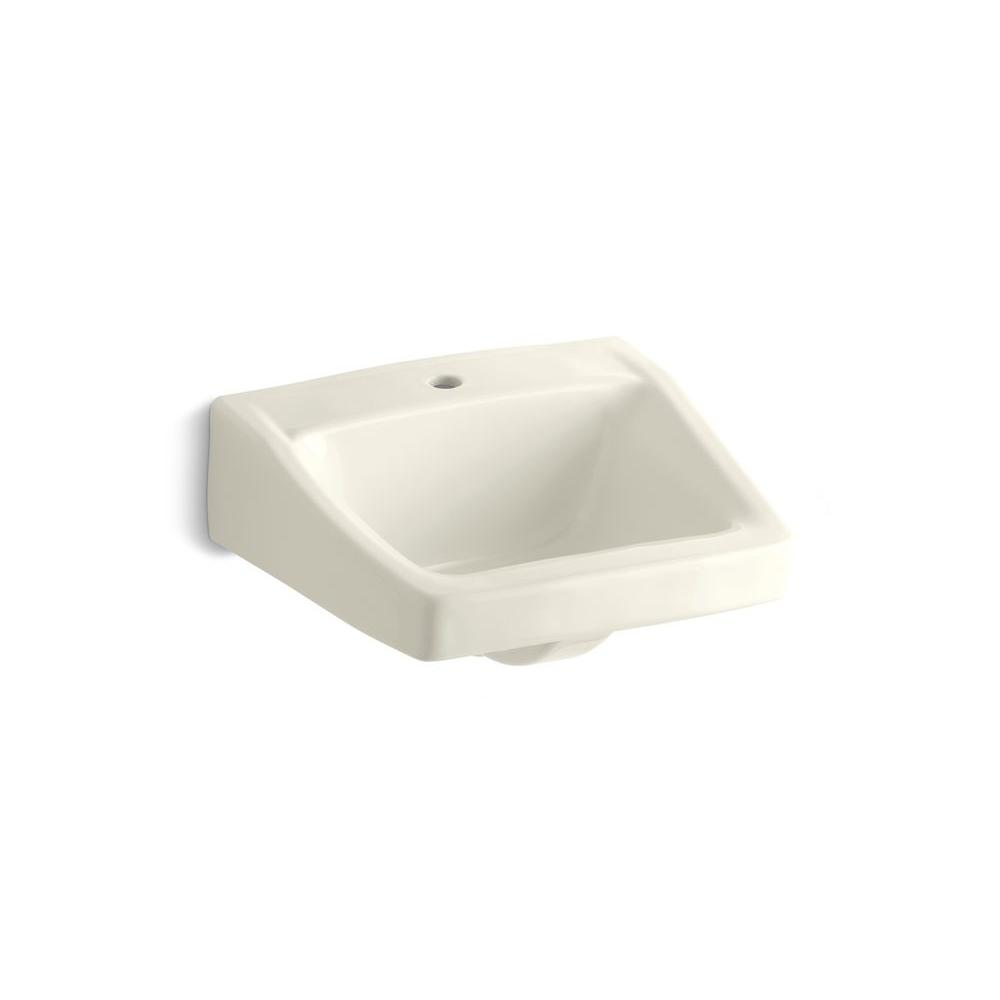 Chesapeake Wall-Mount Vitreous China Bathroom Sink in Biscuit with Overflow
