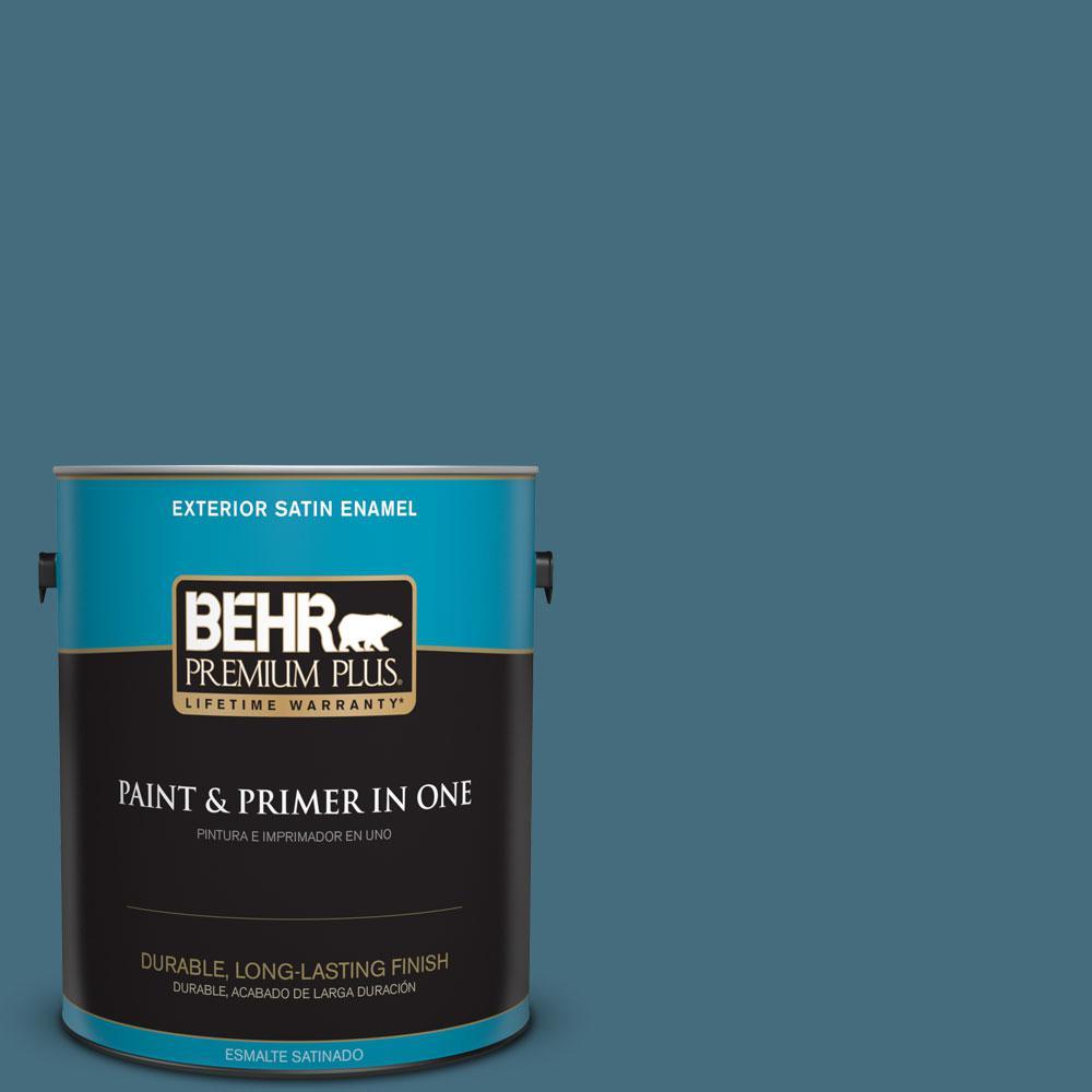 BEHR Premium Plus 1-gal. #S480-6 Poseidon Satin Enamel Exterior Paint