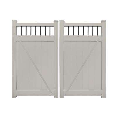Bradford 7.4 ft. W x 5 ft. H Tan Vinyl Privacy Double Fence Gate