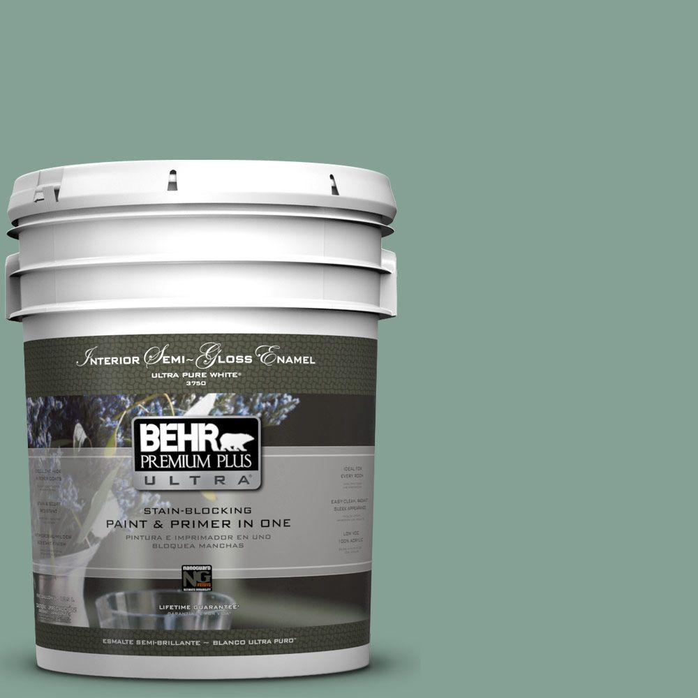 BEHR Premium Plus Ultra 5-gal. #S420-4 Australian Jade Semi-Gloss Enamel Interior Paint