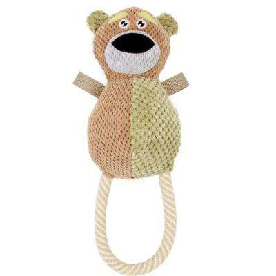 Brown and Olive Plush hug a bear Natural Jute and Squeak Chew Tugging Dog Toy